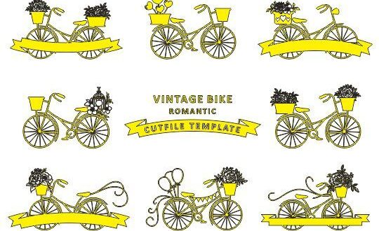 Free Vintage Romantic bike SVG CutFile Template