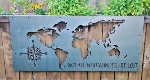 Metal laser cut world map lost free design