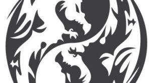 Free vector dragon yin yang panel