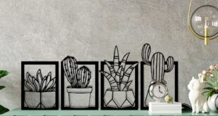 Wall cactuses and flowers DXF CDR
